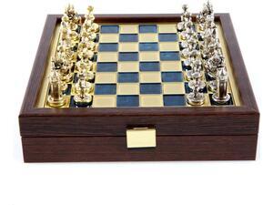 Σετ Σκάκι Μεταλλικά Πιόνια Βυζαντινό Χρυσό-Ασημί & Mπρούτζινη Σκακιέρα 20cm Μπλε (SK1BLU)