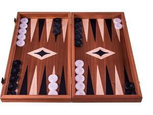 Χειροποίητο Τάβλι - Σκάκι Μαρκετερί Μαόνι Με Μαύρες Γλώσσες 30x17cm