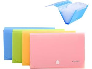 Γραμματιοθήκη Deli φυσαρμόνικα με κουμπί Α6 12 θέσεων διάφορα χρώματα  (Διάφορα χρώματα)