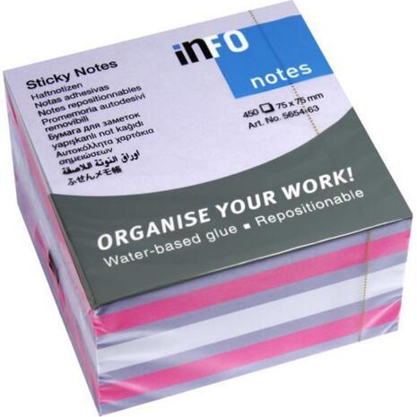 Αυτοκόλλητα χαρτάκια σημειώσεων INFO pastel pink-lila 75x75mm 450 φύλλα (Διάφορα χρώματα)