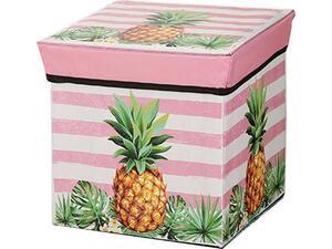 """Σκαμπό-κουτί αποθήκευσης υφασμάτινο """"Ανανάς"""" 30x30x30cm (Διάφορα χρώματα)"""