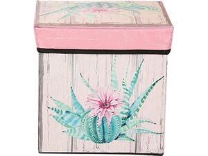 """Σκαμπό-κουτί αποθήκευσης υφασμάτινο """"Κάκτος"""" 30x30x30cm (Διάφορα χρώματα)"""