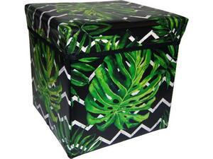 """Σκαμπό-κουτί αποθήκευσης υφασμάτινο """"φύλλο μονστέρα"""" 30x30x30cm (Διάφορα χρώματα)"""