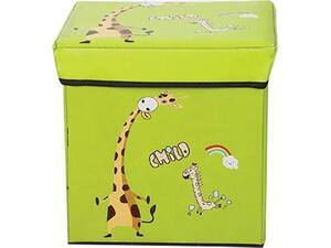 """Σκαμπό-κουτί αποθήκευσης υφασμάτινο """"καμηλοπάρδαλη"""" 30x30x30cm  (Διάφορα χρώματα)"""
