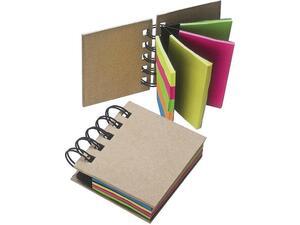 Μπλοκ σπιράλ με αυτοκόλλητα χαρτάκια & σελιδοδείκτες 7x7.5cm 25φύλλα/ χρώμα (Διάφορα χρώματα)