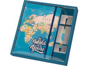 Σημειωματάριο Total gift Blue Map A5 με λάστιχο και στυλό XL1854
